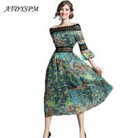 ATDYSPM Women Vintage Silk Floral Printed Dresses Summer Elegant Lace Stitching Chiffon Dress Party Long Loose