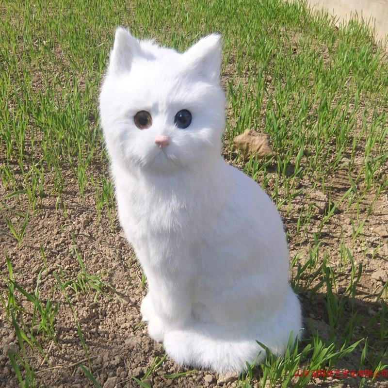 simulation cute squatting white cat 35x15cm model polyethylene&furs cat model home decoration props ,model gift d565 simulation cute squatting white cat 35x15cm model polyethylene