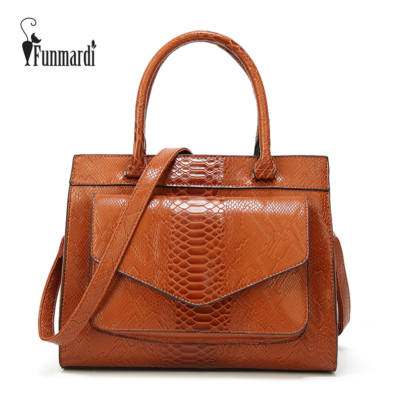 FUNMARDI New Fashion Woman Bag Serpentine Oil Wax Leather Handbag With Pouch Totes Bags Women Shoulder Bag Messenger WLHB1769