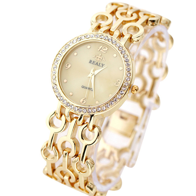 Fashion Women Stainless Steel Chain Strap Bracelet Watches Women Rhinestone Roun