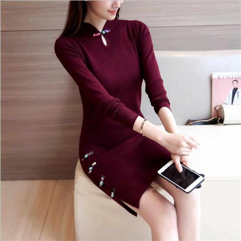 Musim Dingin Tradisional Cina Gaun Lengan Panjang Merah Hitam Hangat Cheongsam Tradisional Cina Gaun untuk Wanita Cina Gaun QV532