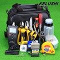 KELUSHI 29 EM 1 Kit de Fibra Óptica FTTH Ferramenta com FC-6S Cleaver/Medidor De Energia/Localizador Visual de Falhas/Kevlar Tesoura/Corte Guider Way