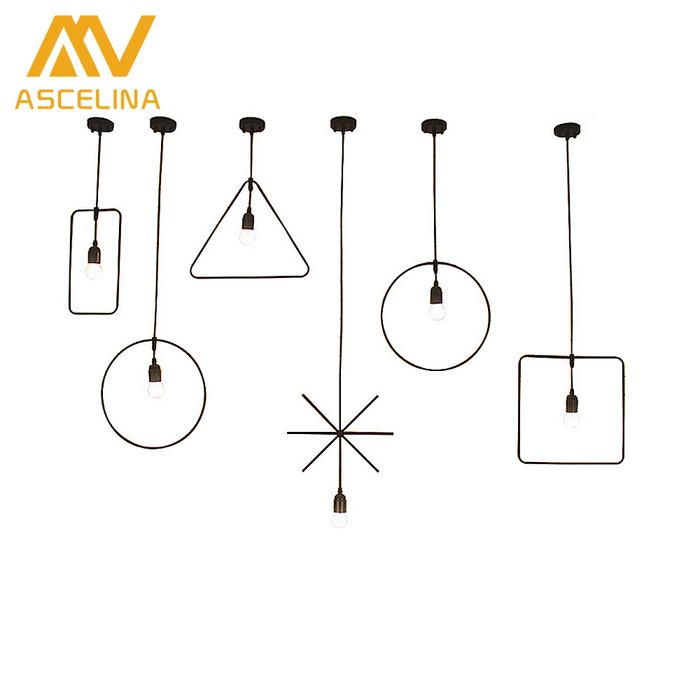 Circular Retro Vintage Art Deco Pendant Light Lamp Loft Creative Style at Living Room Black Metal Cord Pendant Lighting Fixtures
