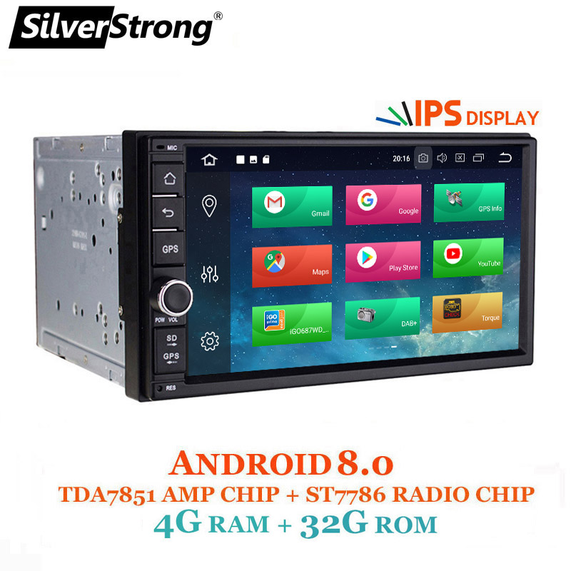 SilverStrong Android8.0-7,12 del coche DVD 2Din Universal DSP android OctaCore GPS 7 pulgadas coche estéreo auto Radio Navi 706