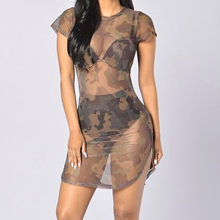 Sexy Camouflage dress Perspective Autumn Army Green Women Boho Dresses Fashion Beach mini Dress vestidos mujer #(China)