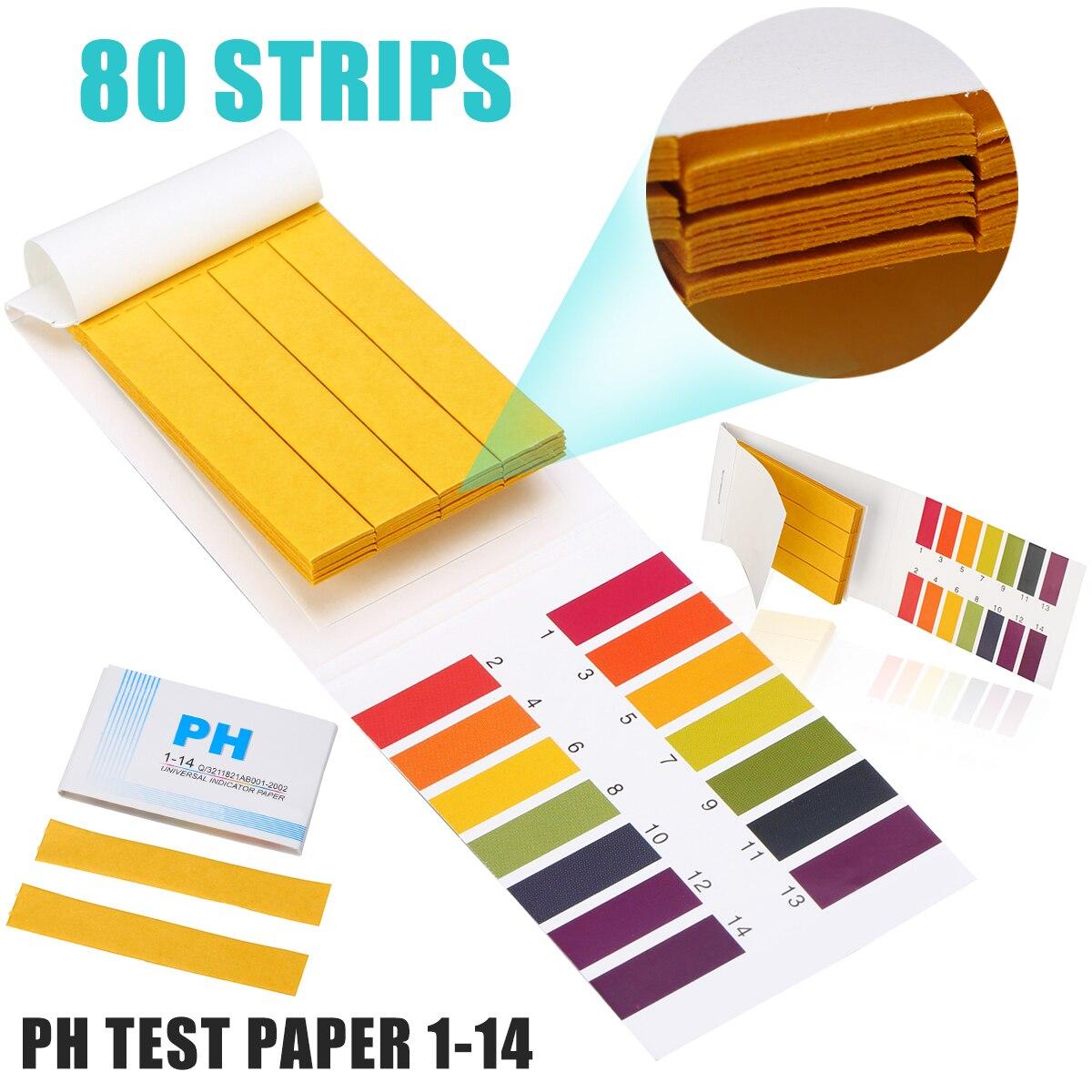 1Set 80 Strips Testing Alkaline Acid Indicator Paper Universal Litmus PH Test Paper 1 - 14 PH Range For Fish Tank Aquariums