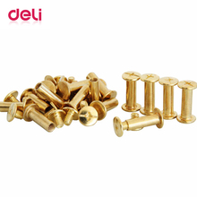 Deli 20 pcs financial screw loose copper nail binding books book docking composite screw nail metal good quality 3462 pins