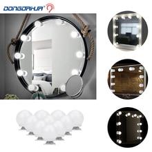 LED Makeup Vanity Light Bulb Mirror Lamp Dimmer 10 Bulbs Kit Hollywood Make up Lamp for Bathroom Dressing Table AC100-240V