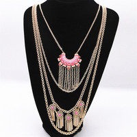 2016 Fashion Accessories Manufacturers Selling Exaggeration Red Blue Enamel Multilayer Statement Necklace Chain Tassel Necklace