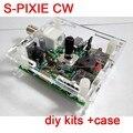 S-PIXIE QRP CW Коротковолновой Ветчина Любительская Радиосвязь Трансиверы 7.023 МГц Diy Комплекты + Чехол