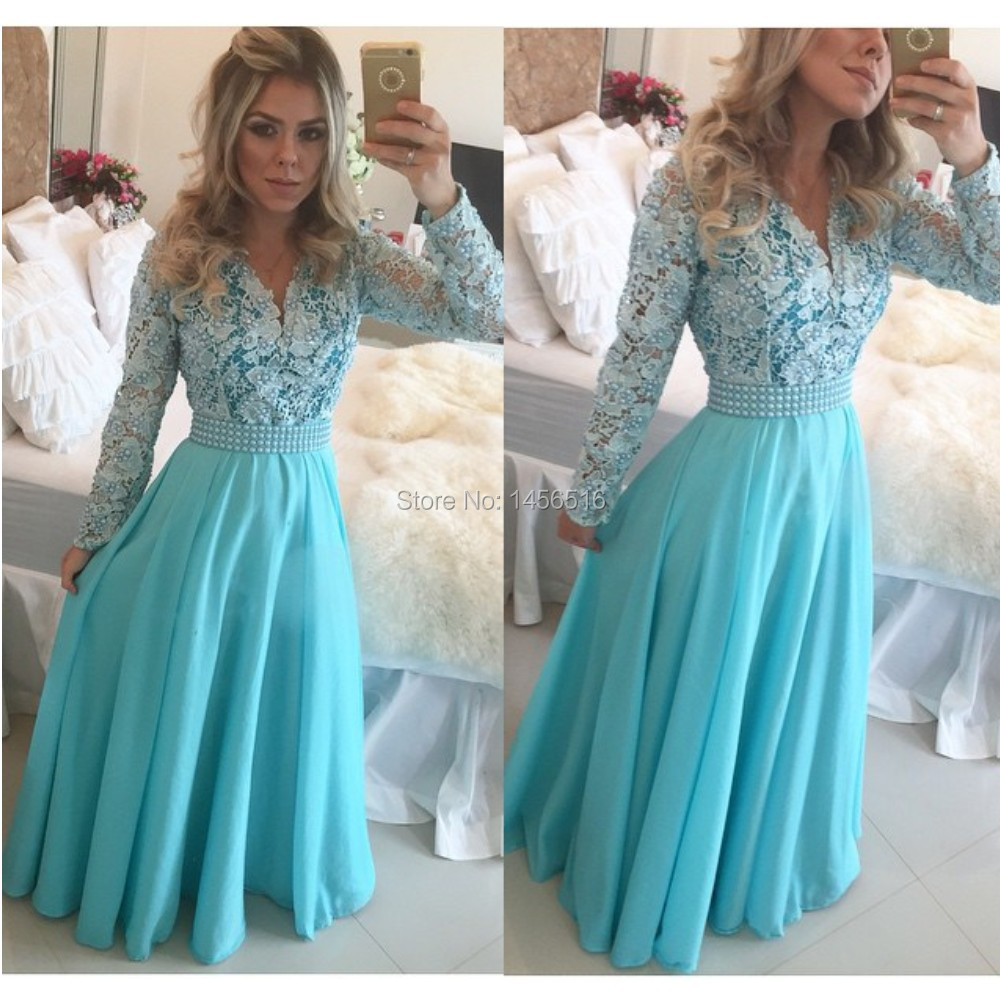 Blue Dress With White Lace