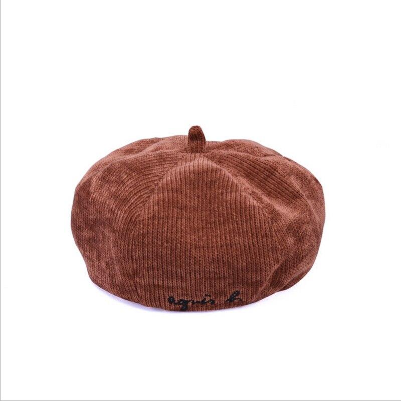 Women Hats Winter 2018 Beret Cotton Letter Embroidery Caps Autumn Chic Style Black Khaki Corduroy