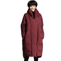 Плюс Размеры 80 кг можно носить Для женщин утка Подпушка куртка 2017 Зимняя парка длинные утолщение пальто женские свободные Стенд воротник Ди