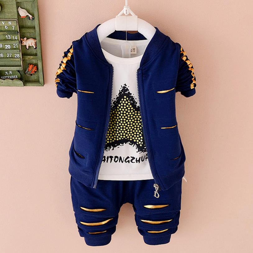 3pcs Baby boys Clothes Sets Spring 2018 Autumn Long Sleeve Jacket + tshirt + pants Sport Suit for Kid 1-4 Years children outfit 2017 new cartoon pants brand baby cotton embroider pants baby trousers kid wear baby fashion models spring and autumn 0 4 years
