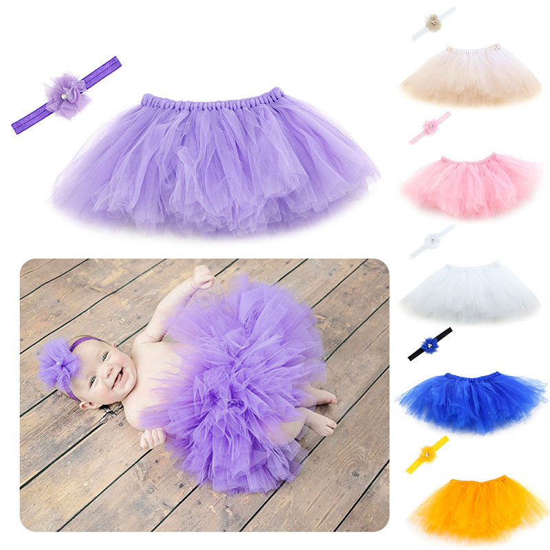 M89CSweet Newborn Baby Girl Tutu Skirt & Flower Headband Photo Prop Costume Outfit