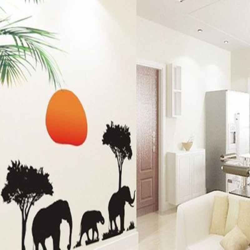 African Elephants Tree Sunset Wall Animal Sticker Decor Wallpaper Kitchen Waterproof Wall Sticker China
