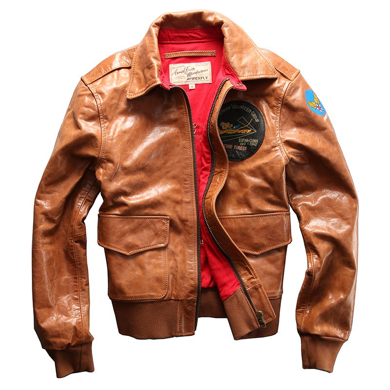 Read Description! Asian Size Air Force Flight A2 Pilot Leather Jacket High Quality Genuine Cow Leather Cowhide Rider Jacket