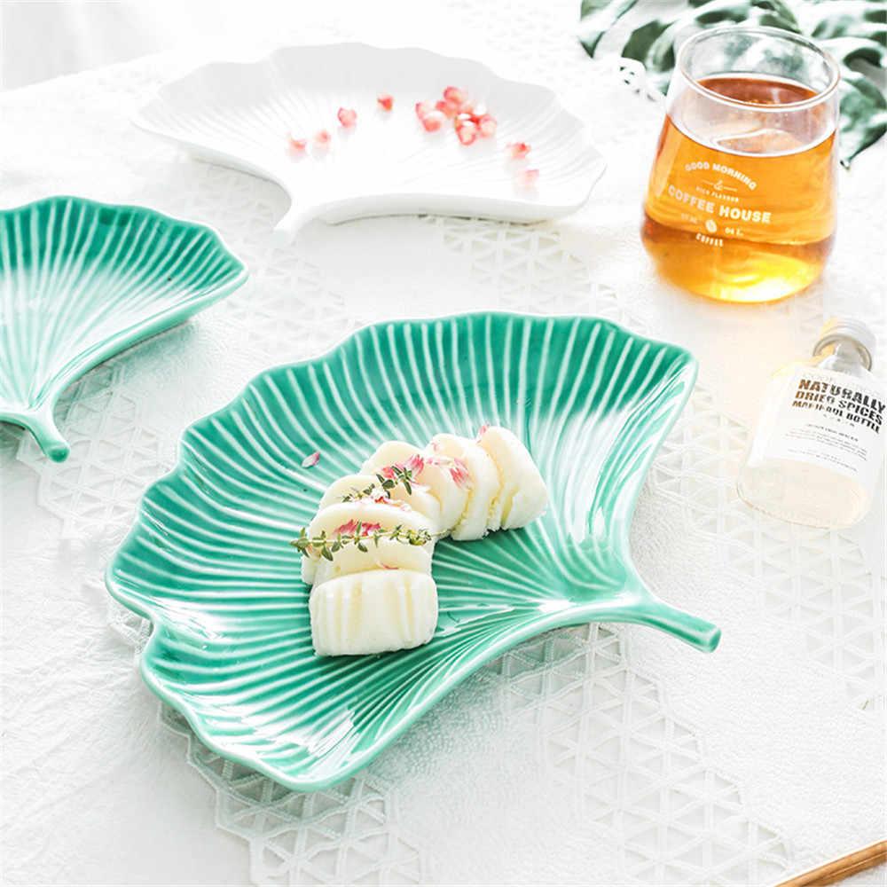 Творческий мультфильм керамическая тарелка зеленый белый лист форма десерт хлеб