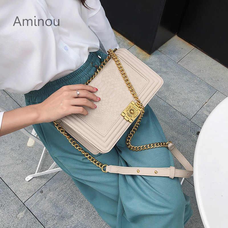 af2986c5a301 Luxury Designer Crocodile Bags For Women 2018 Crossbody Chain Flap Bag  Alligator Handbag Fashion Black Snake