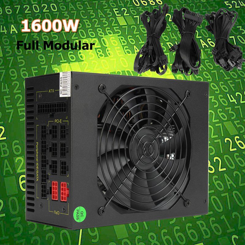 1600W Modular Mining Power Supply GPU For Bitcoin Miner Eth Rig S7 S9 L3+ D3 High Quality computer Power Supply For BTC yunhui antminer s9 11 85t bitcoin miner s9 batch 11 85 th s asic miner btc mining power consumption 1172w