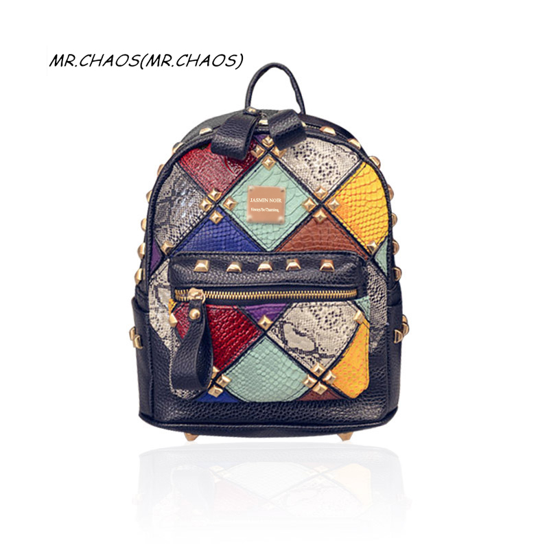 high quality Spring summer Women Backpacks Rivet Patchwork School Bag Panelled brand designer Fashion ladies back