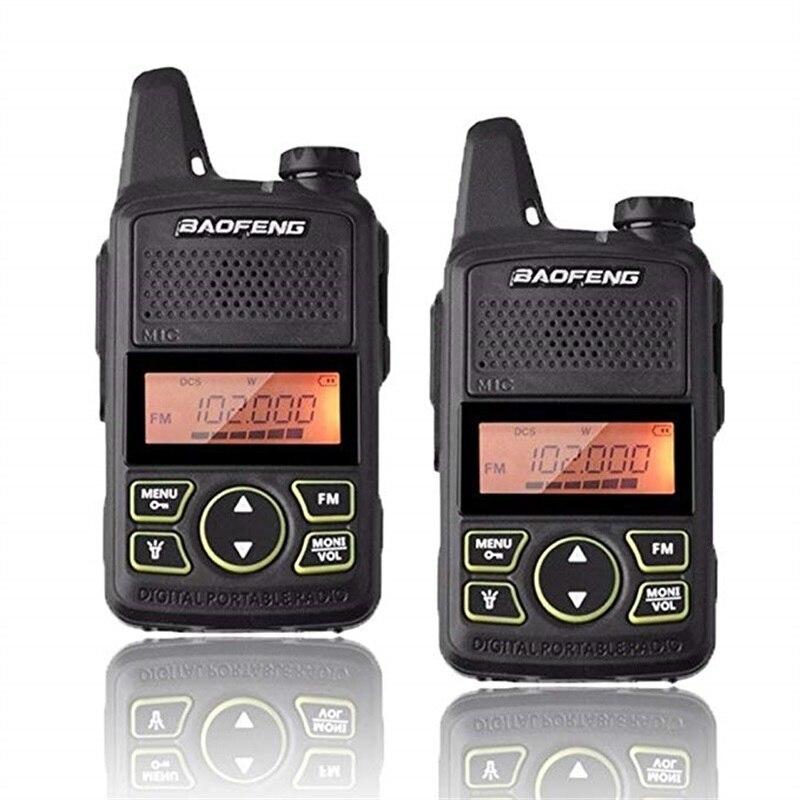 2 pcs Portable Enfants Talkie Walkie BF-T1 UHF Mini Baofeng Two Way Radio FM Fonction Jambon HF Émetteur-Récepteur T1 Walkie avec Casque