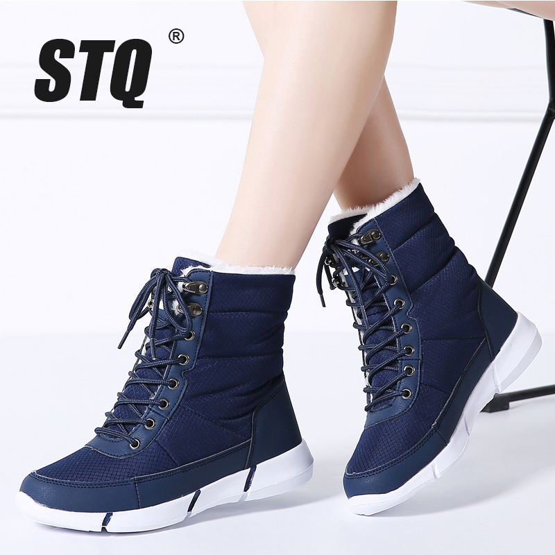 STQ 2019 Winter Women Snow Boots Platform Ankle Boots