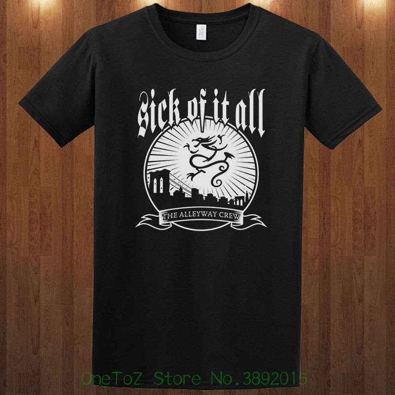 2018 New Arrival Mens Fashion Sick Of It All Tee Crossover Thrash Band Agnostic Front S M L Xl 2xl 3xl T-shirt