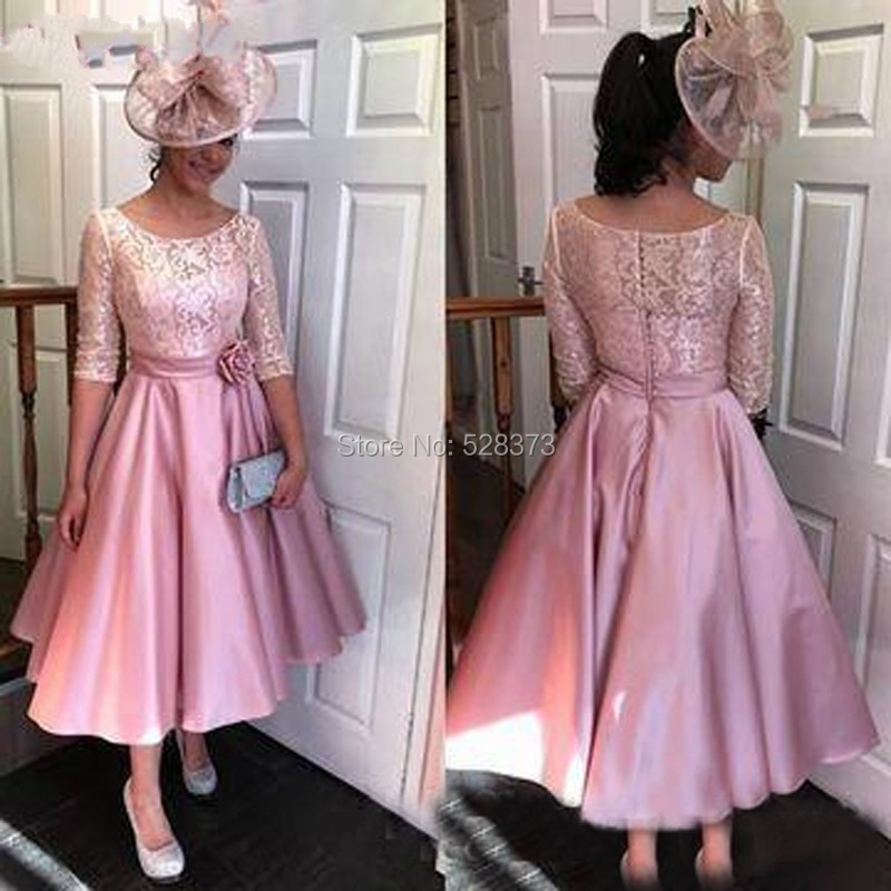 Mother Of The Bride Outfits Wedding Occasionwear 2019: YNQNFS MD121 Elegant Pink Lace/Satin Tea Length Vintage