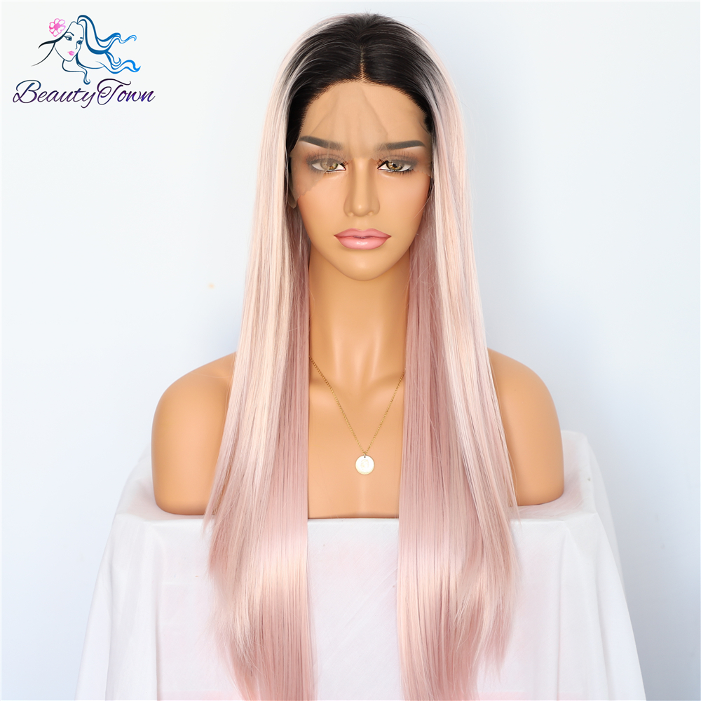 BeautyTown Ombre Pink Natural Straight Heat Resistant Hair Women Wedding Party Halloween Present Synthetic Lace Front