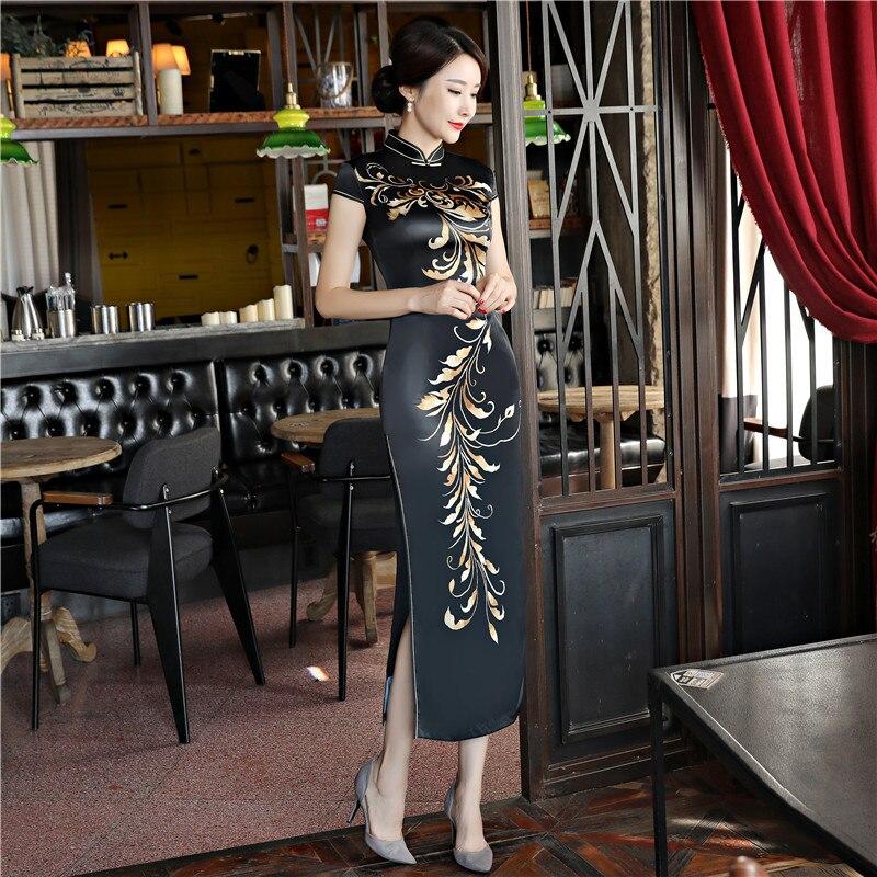 Nouveauté noir soie Vintage imprimé fleur Slim Long Cheongsam grande taille 4XL traditionnel chinois femmes robe dame élégante Qipao