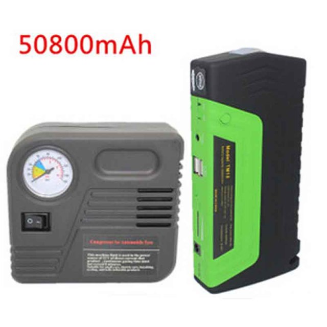 Green Super Function Mobile Auto Emergency Power Power Bank 50800 MAh Car Power Jump Starter Air Pump Safety Hammer Usb