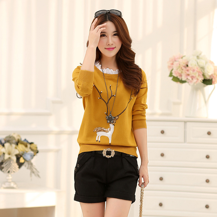 New design autumn and spring lady girls cartoon deer pattern pullover knit sweater
