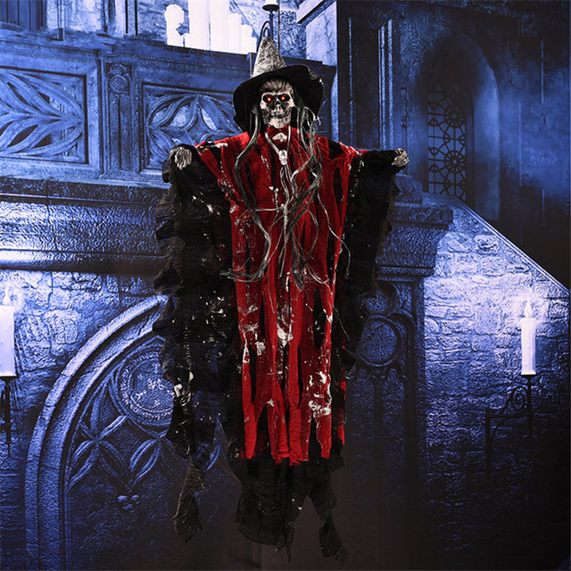 Halloween Scary Hanging Skull Ghost Haunted House Bar KTV Decoration Creepy Ghost Halloween Ornaments Shiny Voice Scary Props