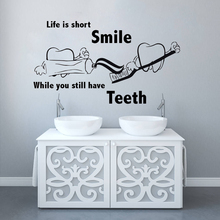 Removable Wall Decal Dental Clinic Quote Sticker Teeth Poster Teech Care Mural Home Bathroom Decor AY1426