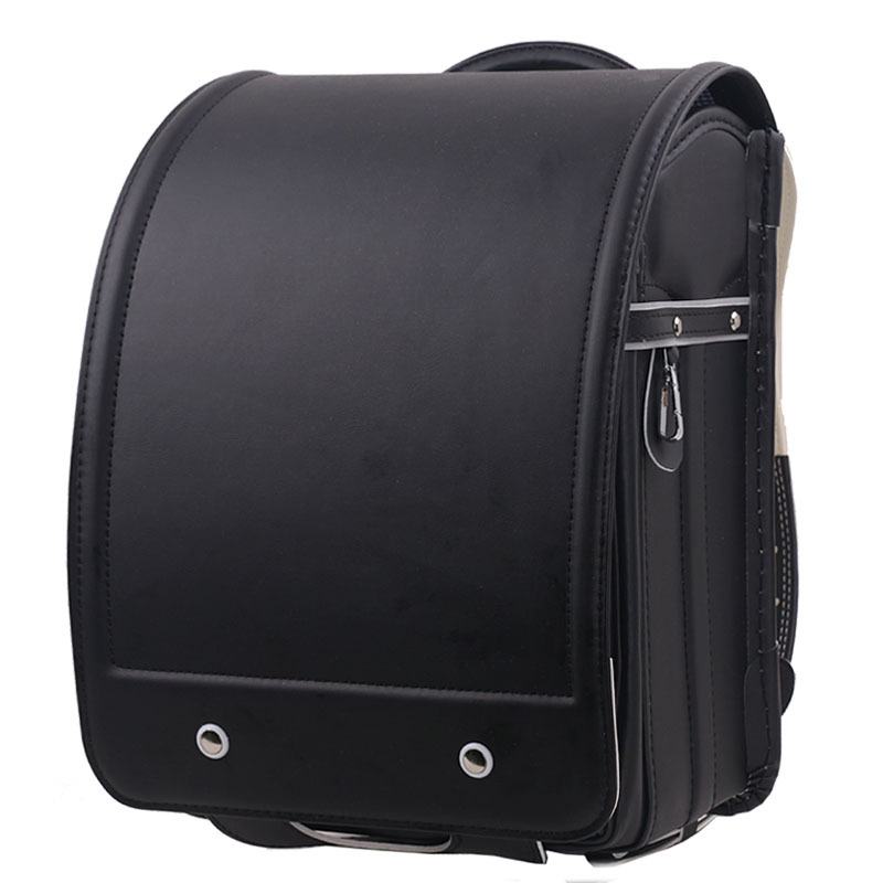 Children Black Backpack for Boy School Bag Orthopedic Randoseru Child Students Schoolbag Japanese Book Bags PU Kid Backpacks