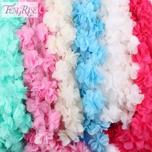 FENGRISE 5 Yards 3D Chiffon Fabric Flowers Cluster Fringe Lace Ribbon Trim Organza Cloth Applique Dress Sewing Accessories(China)