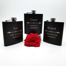 6oz  Personalized Hip Flask Custom black stainless steel Laser Engraved Gift for Him, Groomsmen Gifts Be My Best Man
