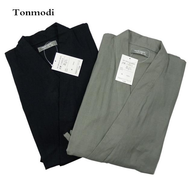 Pijamas Para Hombre 100% algodón de doble capa de gasa Pijama kimono albornoz Pijamas salón de la ropa