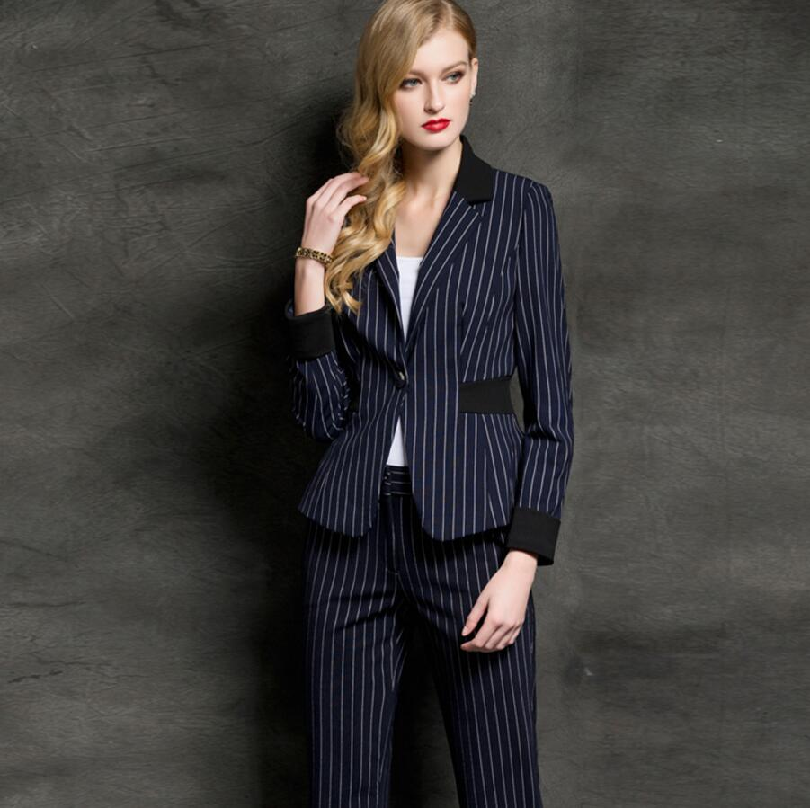 Women Pant Suits fashion design business suit lapel stripe style a grain of buckle ms long-sleeved suits jacket + pants