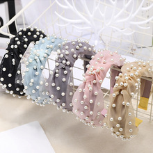 CN Hair Accessories Bohemian Vintage Summer Yarn Lace Headband For Girls Knotted Crystal Pearl Hairband Women Hoop