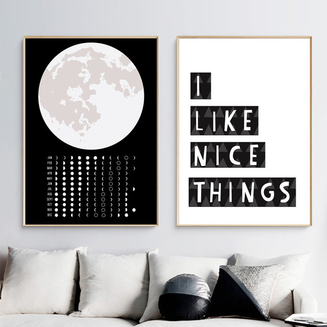 Black White Earth Moon 12 Months Quotes Wall Art Canvas Painting Nordic Posters And Prints Wall Pictures For Living Room Decor