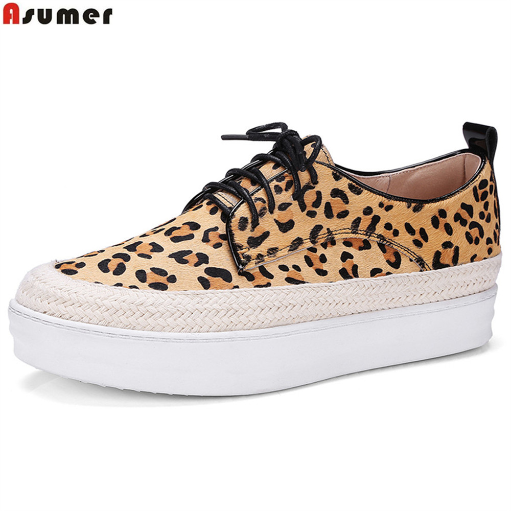 ASUMER black red yellow Leopard fashion spring autumn ladies shoes flat platform square toe casual woman leather flats shoes fashion horse hair tassels leather leopard pattern flat shoes black brown pair 37