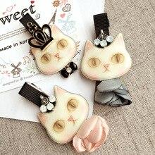 Korea Hair Clip Cat Lace Veil Skirt Imperial Flower Crown Hair Accessories Rim Hairpin Hair Bows Fascinator Barrette