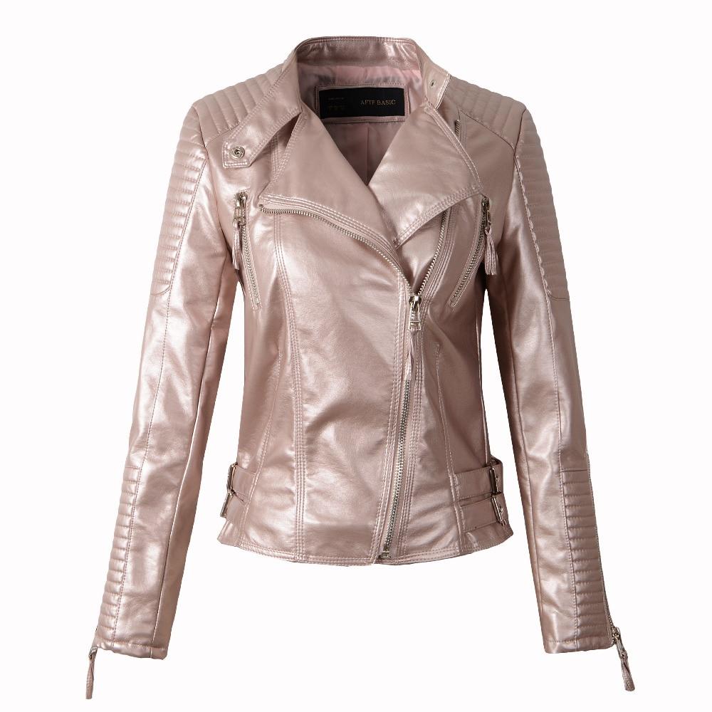 Women faux leather jacket long sleeve PU coat red big size S XL motorcycle biker jaquetas