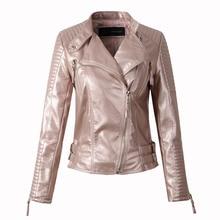 Women faux leather jacket long sleeve PU coat red big size S-XL motorcycle biker jaquetas casacos de couro feminine