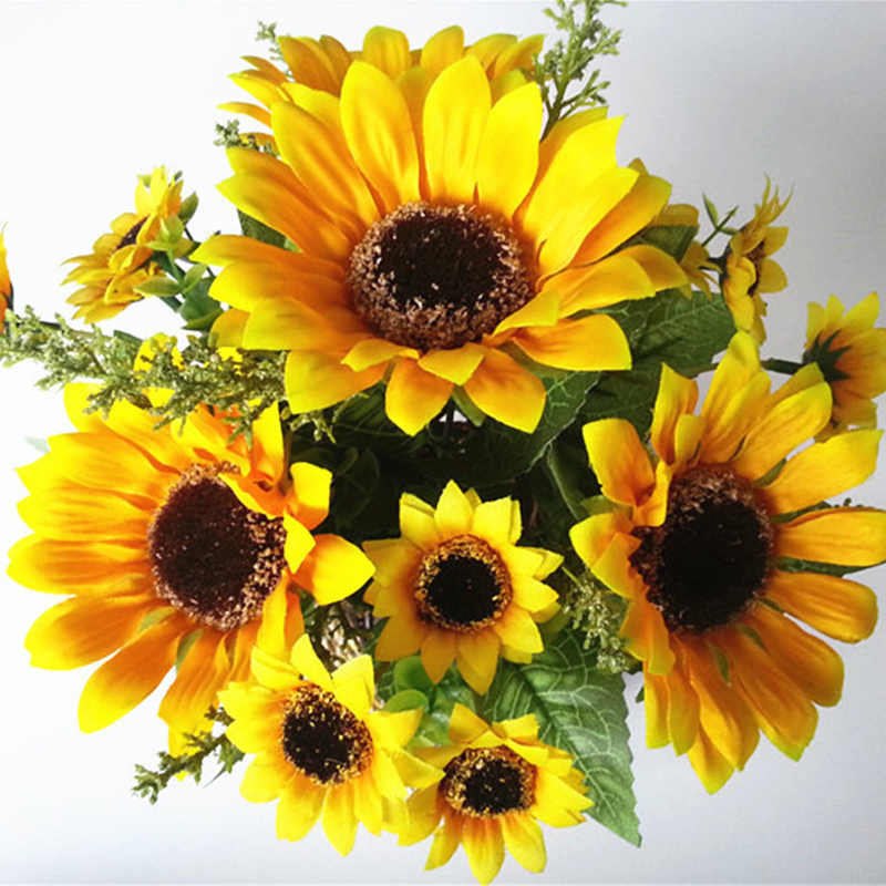 13 Heads Yellow Silk Sunflower Artificial Flowers 7 Branch/Bouquet for Home Office Party Garden Hotel Wedding Decoration A5230