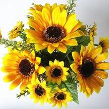 13 голов желтые шелковые подсолнухи искусственные цветы 7 веток/букет
