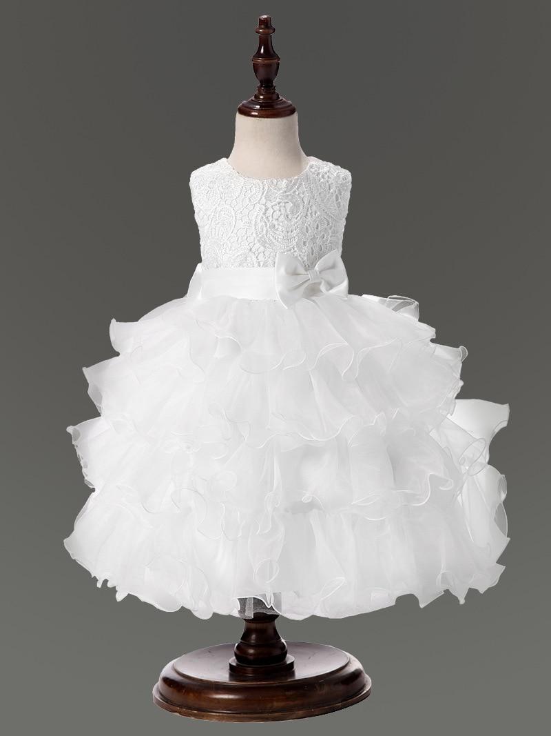 ᐅWhite wedding gowns dress for flower girls layered dresses fluffy ...
