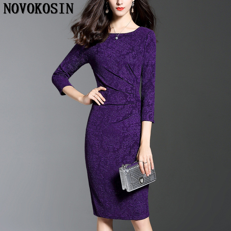 IL1 2018 tallas grandes mangas largas púrpura azul vaina oficina - Ropa de mujer